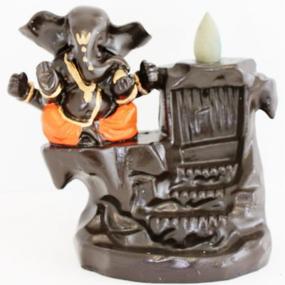 Lucky Ganesh orange backflow incense holder ash catcher free incense1